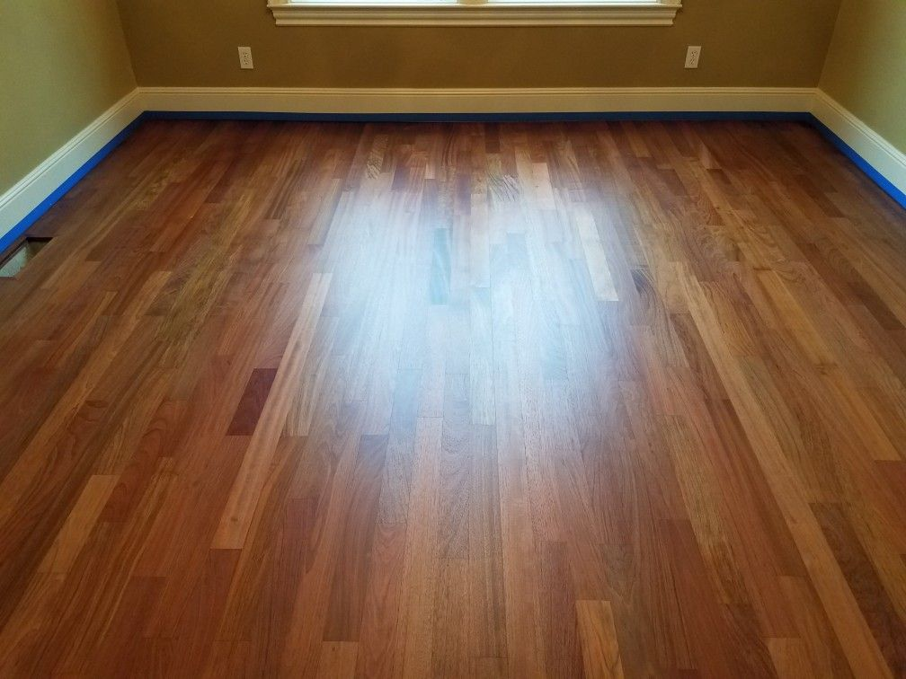3 1 4 Inch Brazilian Cherry Hardwood After A Complete Sanding This Floor Was Sealed With Bona Drifast Sealer The Finish Used Traffic Satin