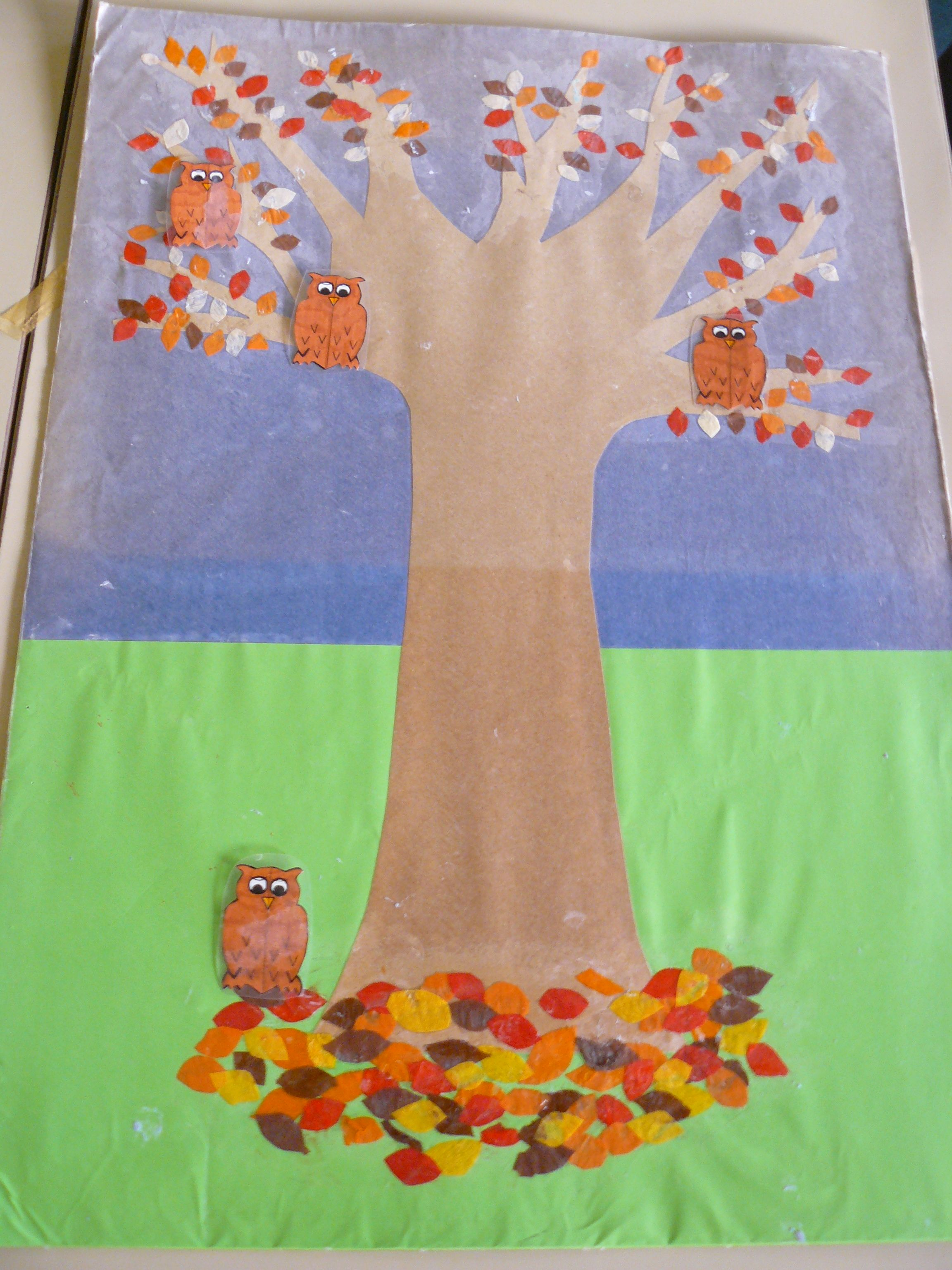 Maths picture owls in Autumn tree. Use to tell addition