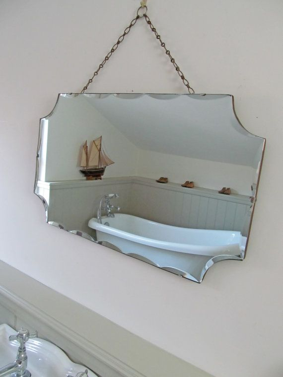 Beveled Mirror With Chain Enchanting Vintage Bevel Edged Mirror Original Hanging