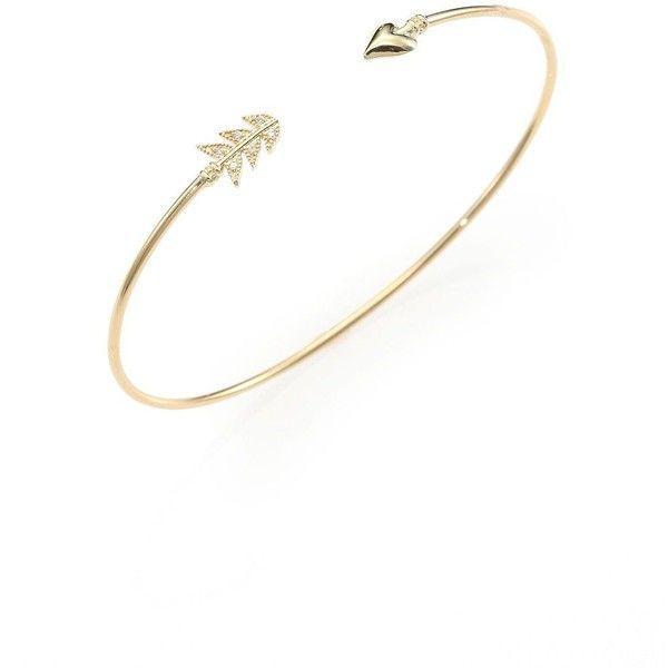 Mizuki Diamond 14k Yellow Gold Arrow Bracelet 1 205 Liked On Polyvore Featuring