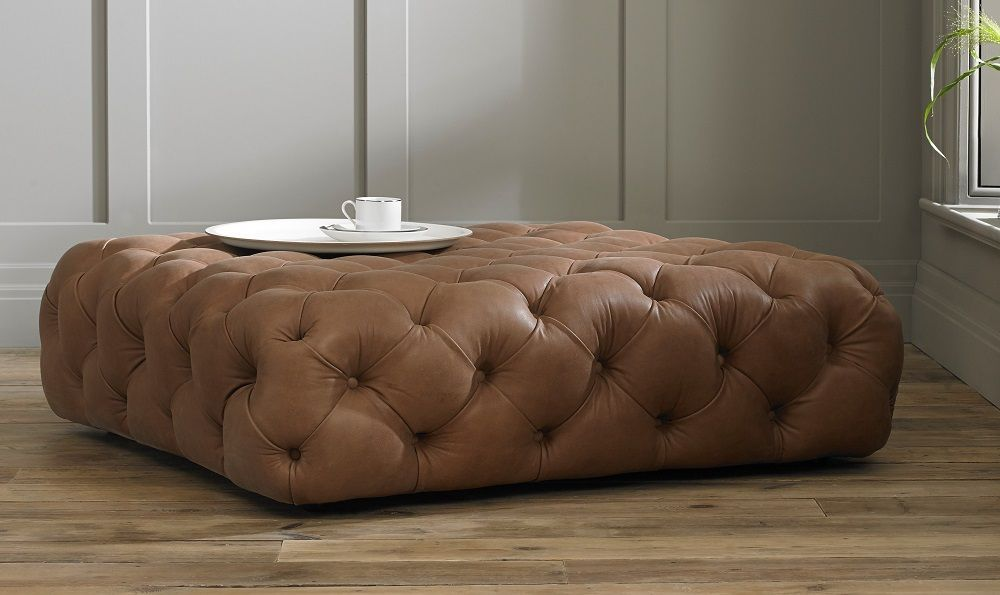The Stringer Large Stool Vintage Chesterfield Sofa Leather