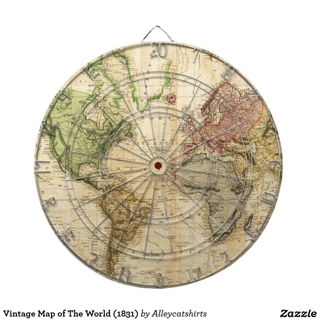 Vintage Map of The World (1831) Dartboard With Darts