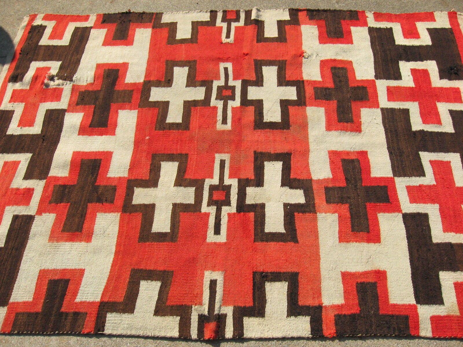 Navajo Native American Indian Rug Blanket Weaving Antique Ganado Floor Ebay