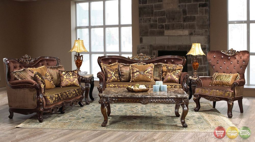 Opulent Traditional Ornate SofaLove Seat Formal Living Room