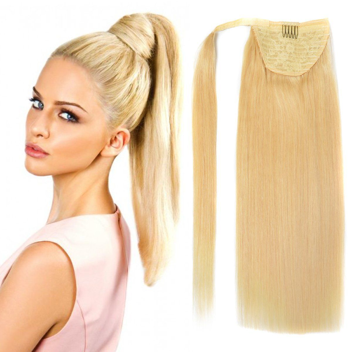 18 Straight Wrap Around Ponytail Human Hair Extensions For Women