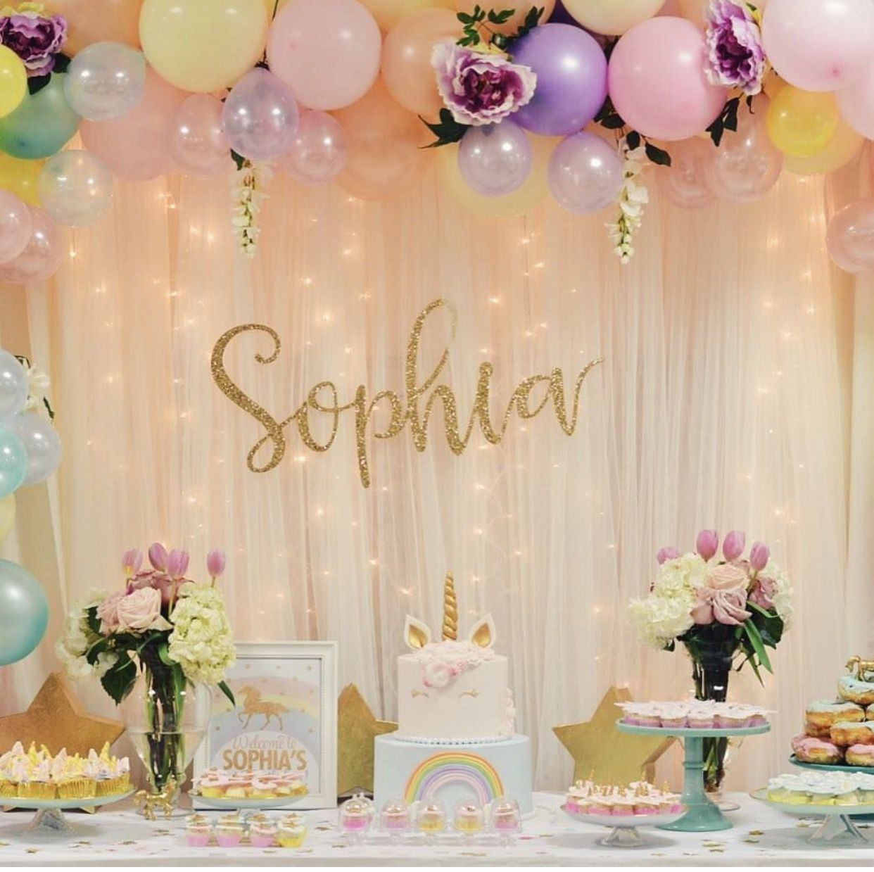 Pin de angela garcia en unicorn birthday party ideas for Cuarto adornado para cumpleanos