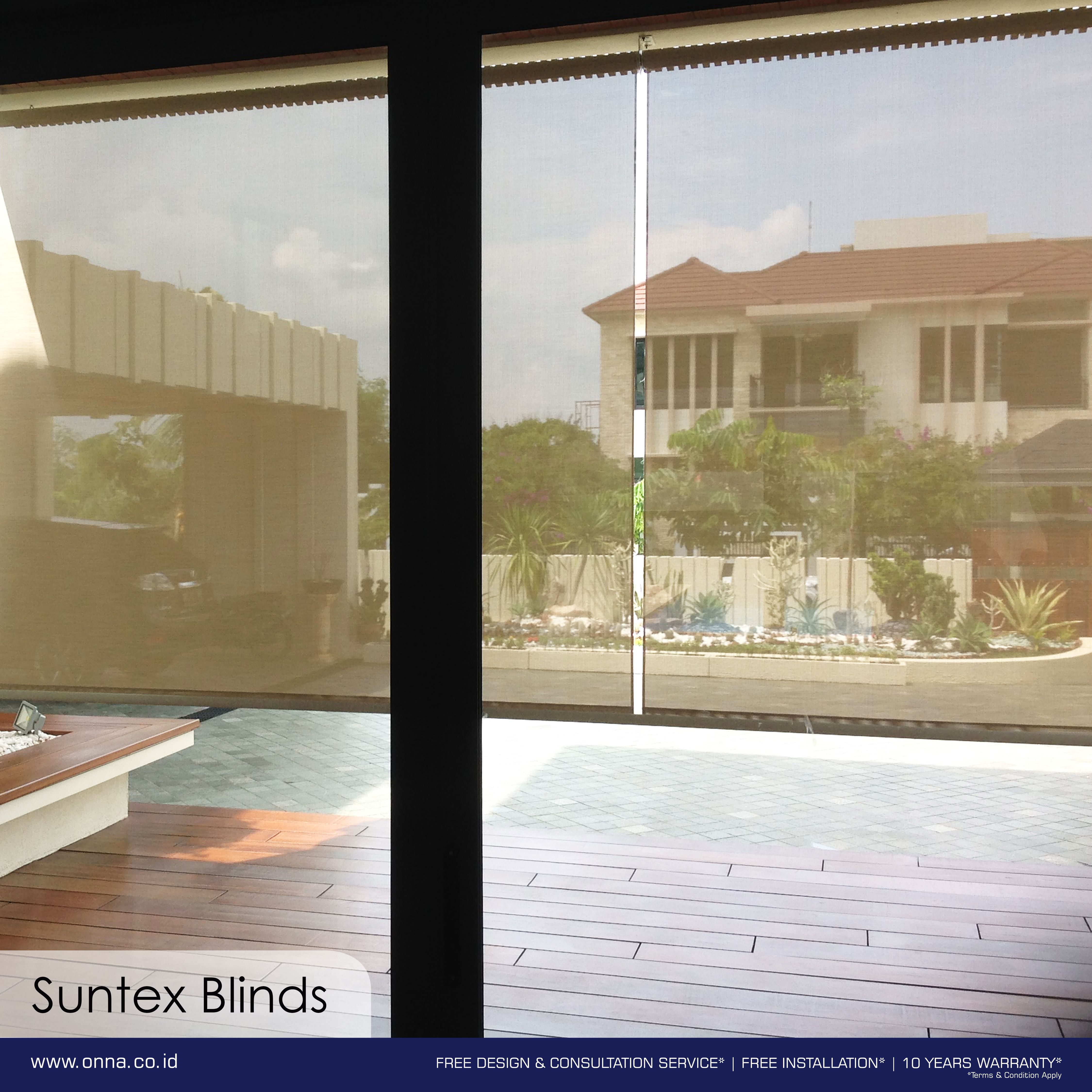Outdoor blinds function just like indoor blinds but are more