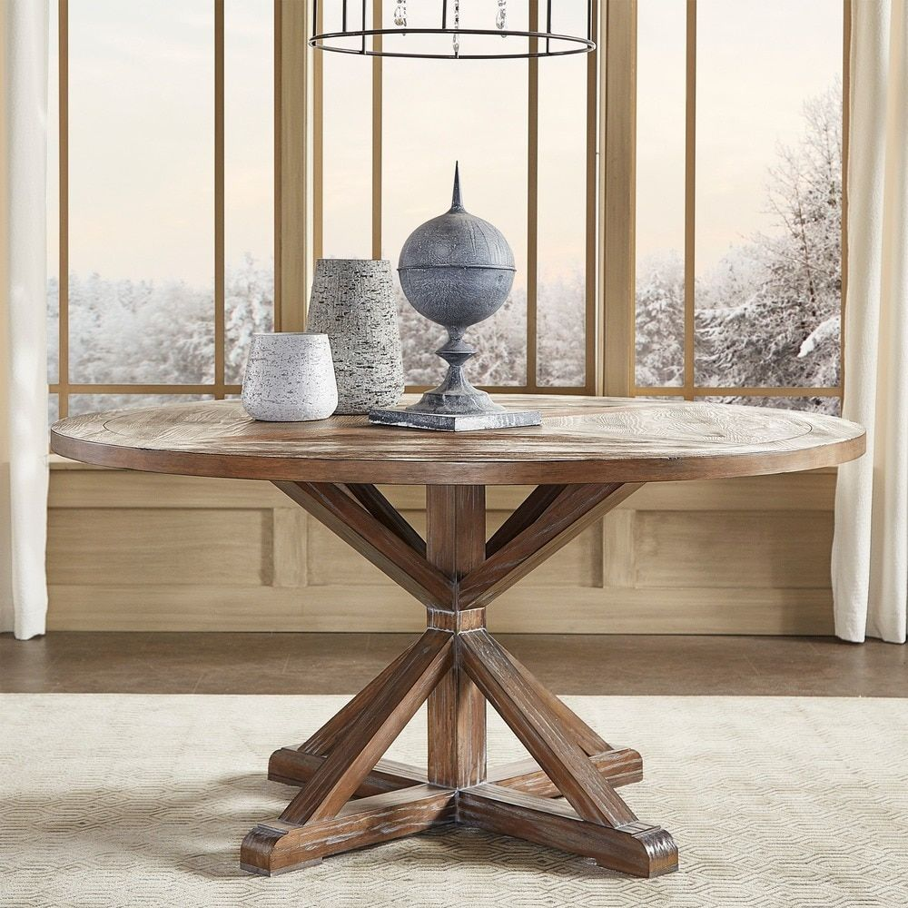 Benchwright Rustic X-base Round Pine Wood Dining Table by iNSPIRE Q Artisan  by iNSPIRE Q
