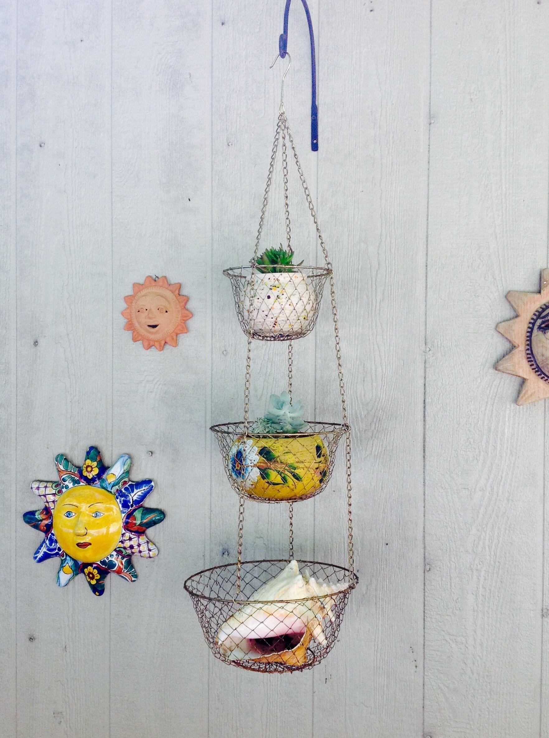Vintage Brass 3 Tier Hanging Baskets Mid Century Kitchen  Decor Mod Minimalist Fruit Basket Oraganization Baskets Farmhouse