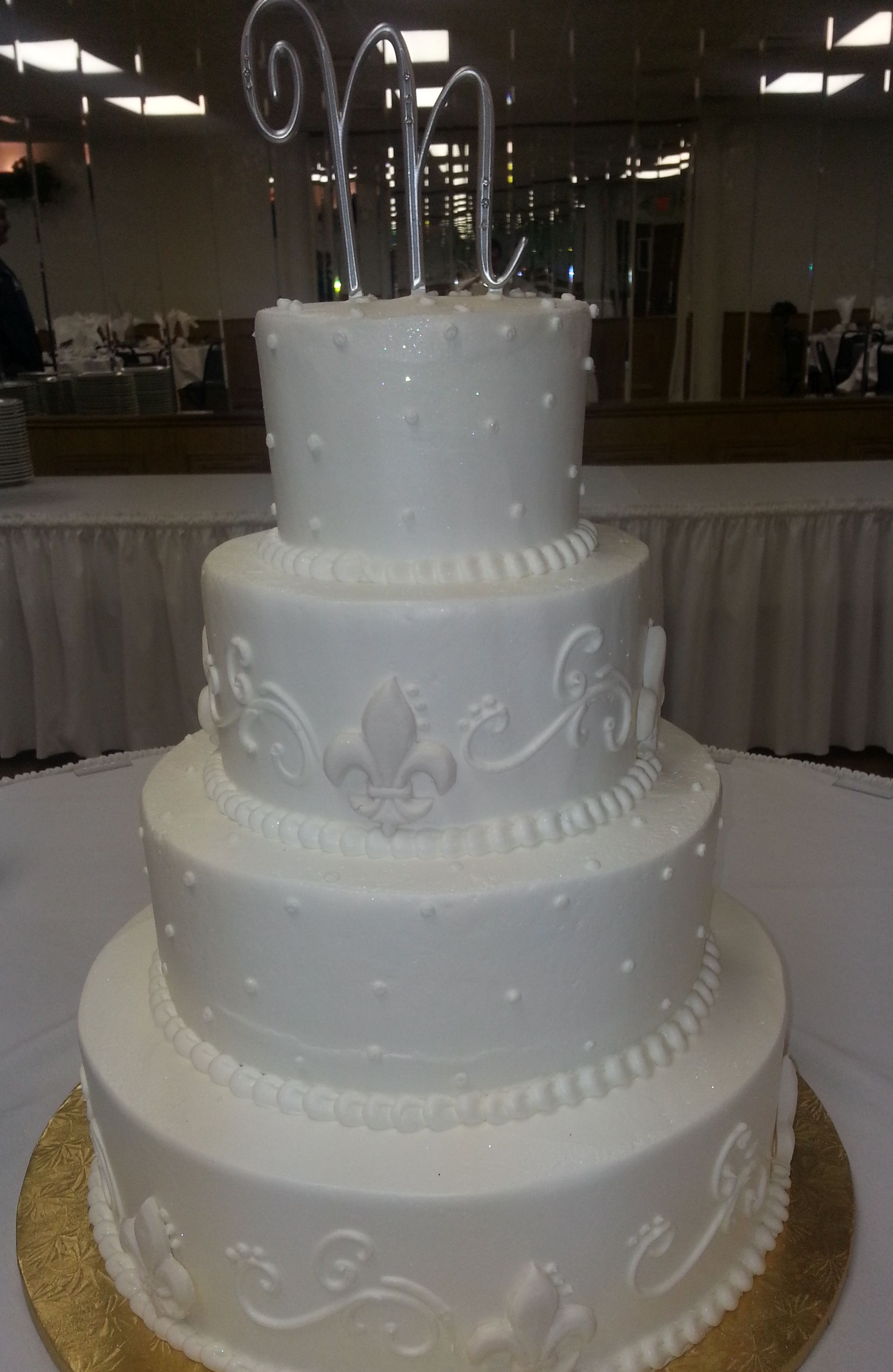 Calumet Bakery Wedding Cake With Fleur De Lis Details