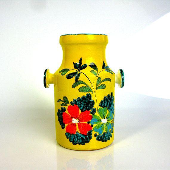 Mid Century West German Vase Yellow Turquoise Hand Vintage