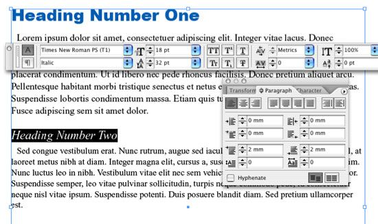 How to use character style sheets and paragraph styles in InDesign