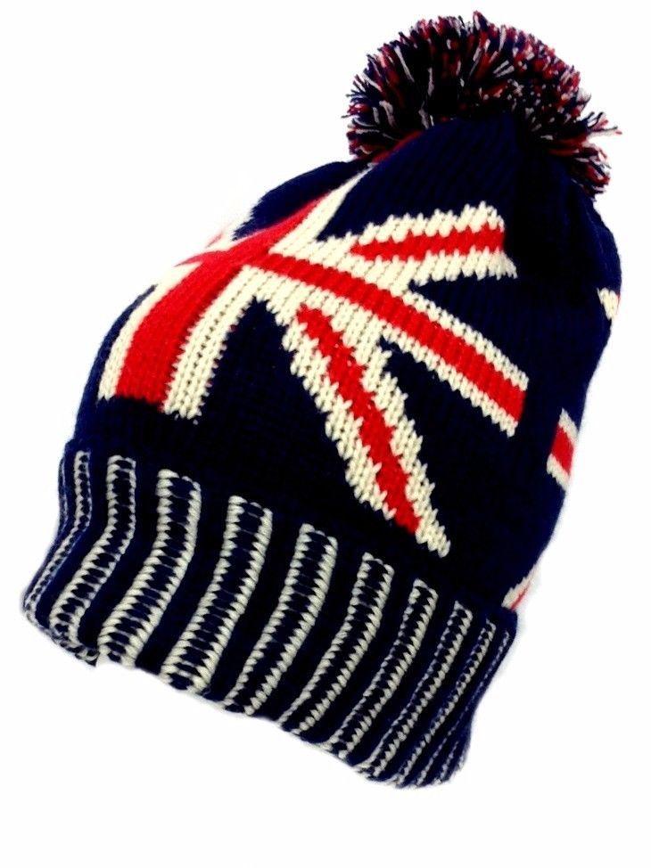 4c8fa23accee4 United Kingdom British Flag UK Winter Beanie Pom Red White Blue Ski Hat Cap  #Clover #Beanie