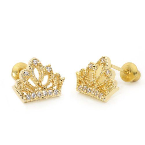 14k Gold Plated Baby Princess Crown Children Back Earring With 925 Silver Post Toddler Kids By Lovearing