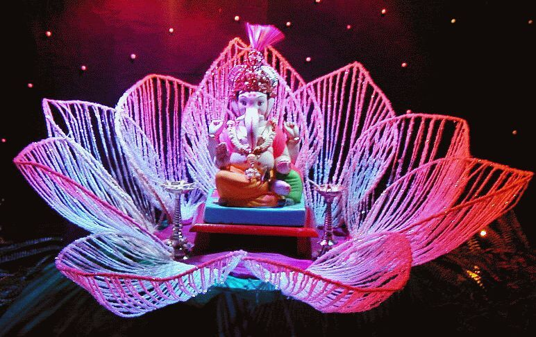 Ganpati decoration ideas for home on ganesh places to for Background decoration for ganpati