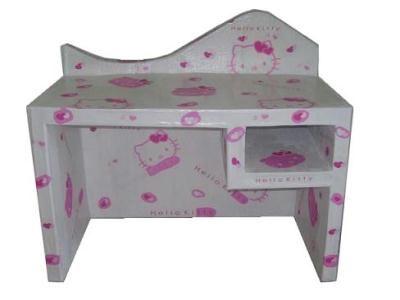 Bureau petite fille en carton hello kitty gris rose création