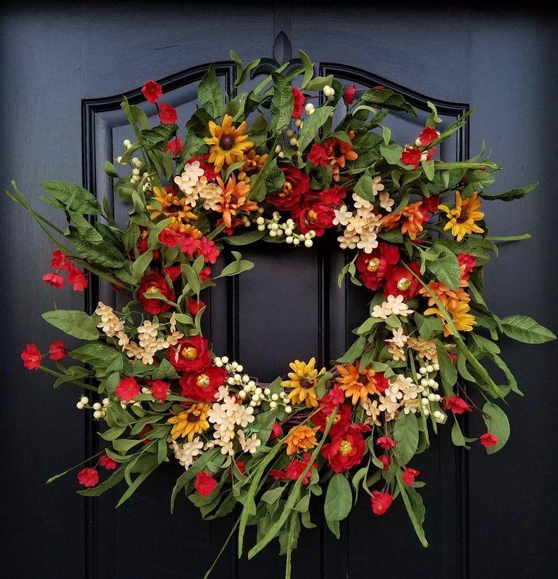 Summer WREATH, Summer Wreaths for Front Door, Country Porch Wreath