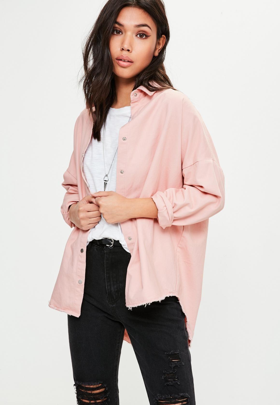 61151294395 Missguided - Pink Oversized Washed Denim Shirt