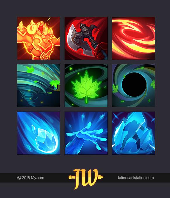 Artstation Hero Abilities Zverg Warrior Amazon Druid Frost Mage Julia Titova Icon Design Inspiration Pixel Art Design Game Icon