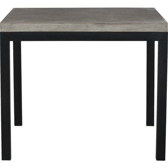 Crate And Barrel Parsons Concrete Top 36 Sq Dining Table With Natural Dark