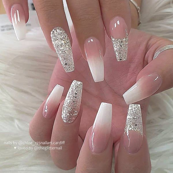 French Ombre Glitter French And Glitter On Long Coffin Nails Nail Artist In 2020 With Images Coffin Nails Long Nails Nails Now