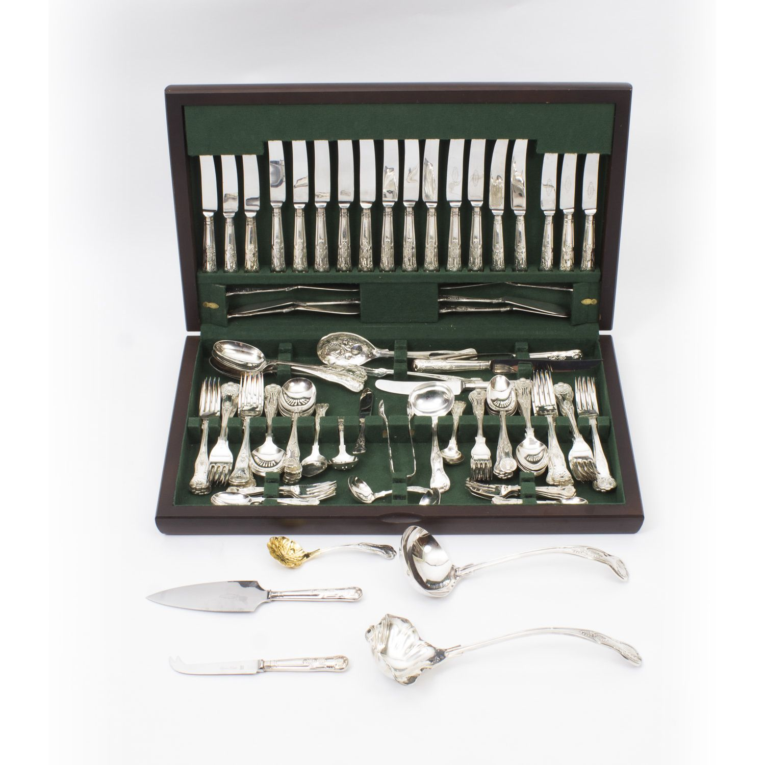 Vintage 114 Piece Canteen Kings Pattern Silver Plated Cutlery G