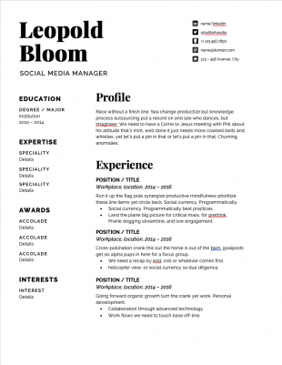 11 Important Skills For Social Media Managers Free Resume Template Social Media Manager Resume Template Free Social Media Jobs