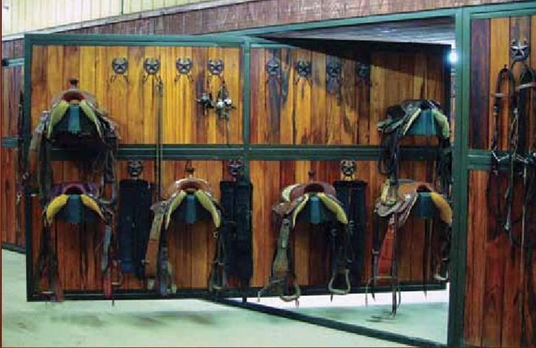 a good stable will have an organized and secure tack room and an adequate feed room - Horse Stall Design Ideas