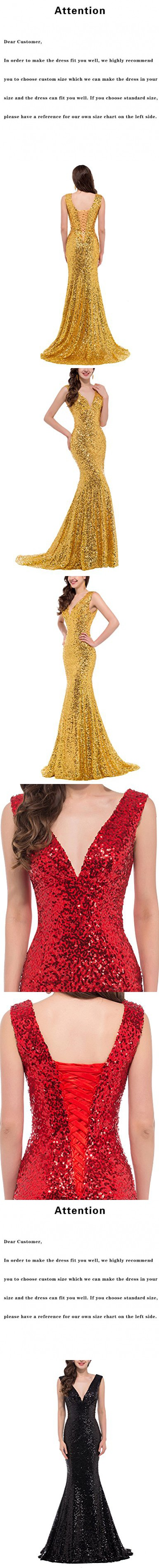 Favors womenus sequins evening dress v neck mermaid formal party