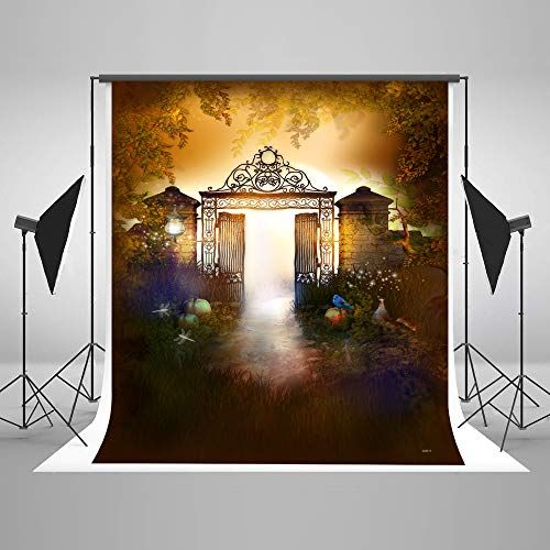 Photo Backdrop Background 5x7ft Halloween Grille Door Aut   - halloween backdrop