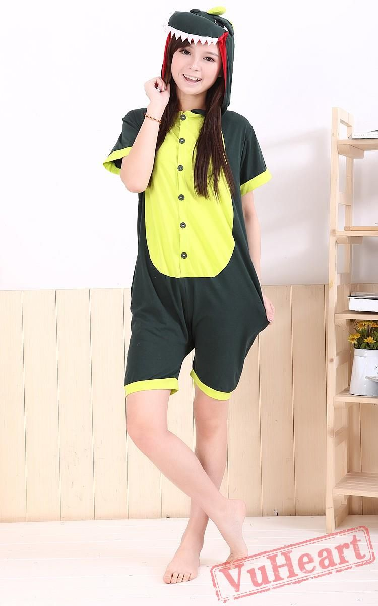 5dfe93ffdc33 Summer Green Dinosaur Kigurumi Onesies Pajamas for Women   Men Pajamas Women