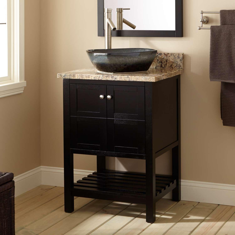 24 Everett Vessel Sink Vanity Black Black Vanity Bathroom