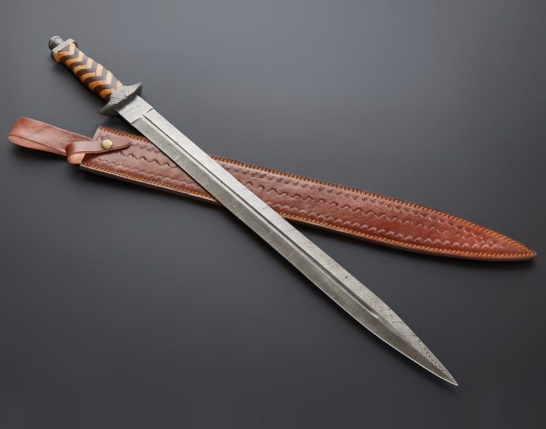 New Custom Handmade Damascus Steel Olive Rose Wood Sword With Best Leather Sheath In 2020 Damascus Steel Wood Sword Leather Sheath
