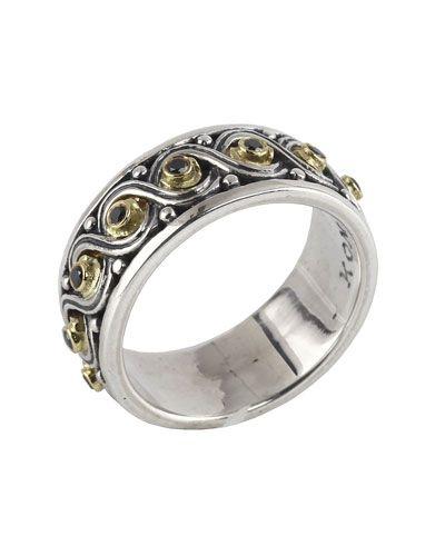 Konstantino Asteri Ornate Scrollwork Band Ring w/ White Diamonds, Size 7