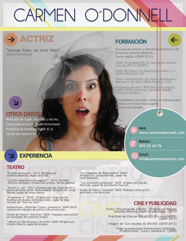Ejemplo de currículum artístico de una actriz | cv | Pinterest ...