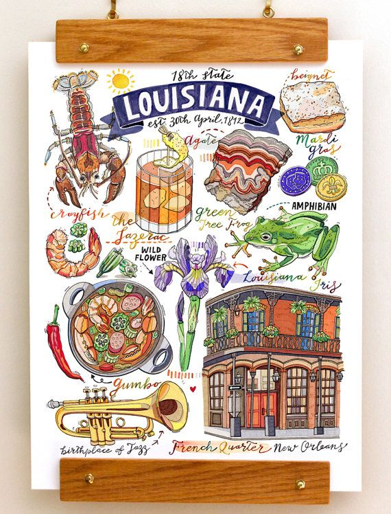 Louisiana Print Symbols Illustration New Orleans Jazz Cocktail