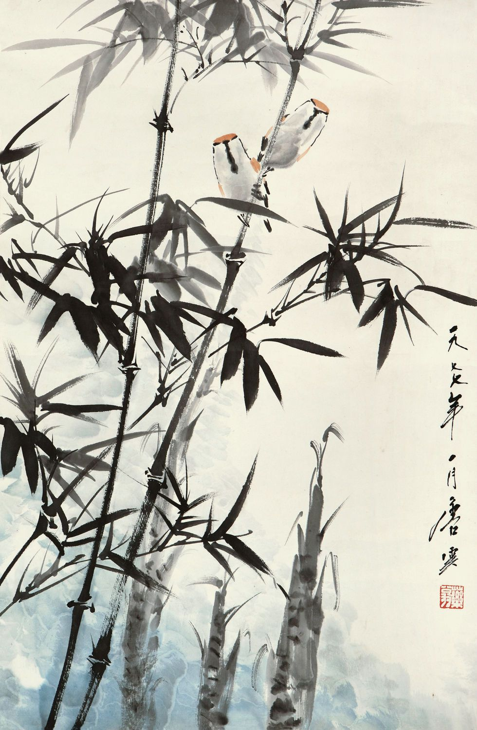 Bamboo And Sparrow Chinese Art Painting Japanese Painting