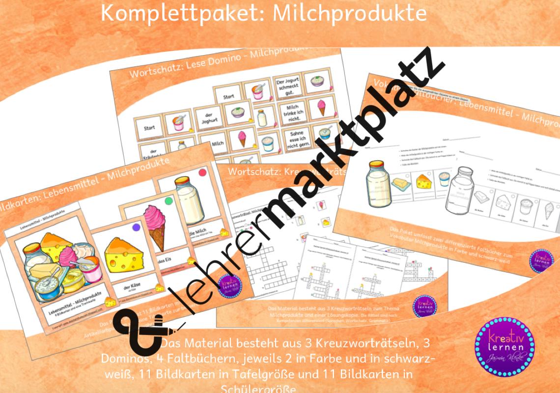 Komplettpaket Milchprodukte | Clipart / Bildkarten | Pinterest