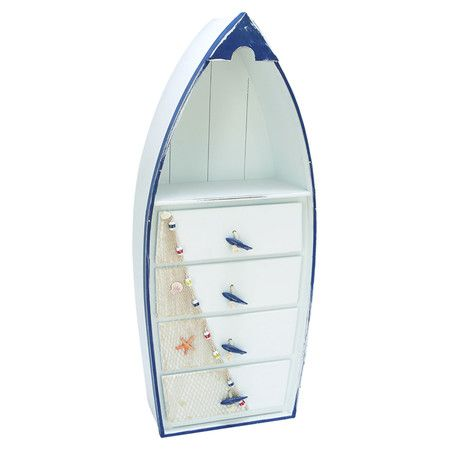 Boat Shaped Wood Cabinet With Four Drawers And A Display Shelf