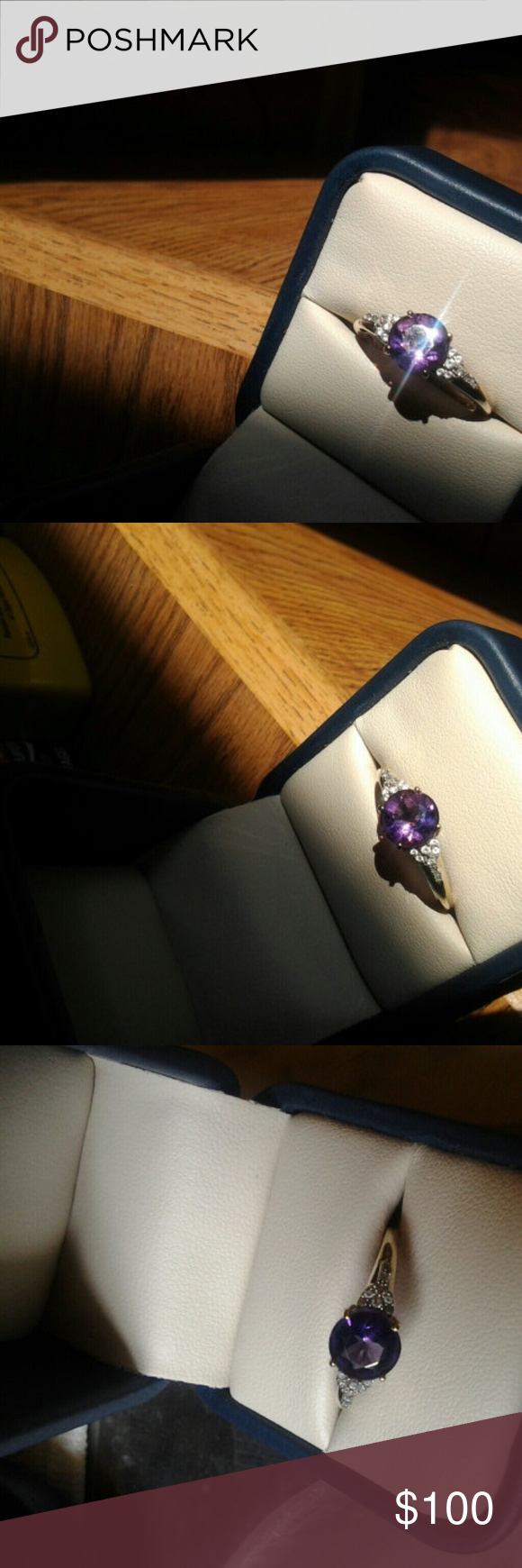 10 k  gold ring 10 k yellow gold, gorgeous deep purple, African Amyethist,  white zircon ring.  It flashes reds, blues, and purples. Bags Satchels