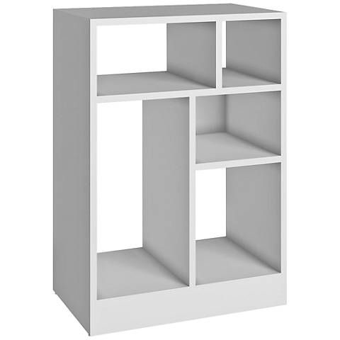 Valenca 5-Shelf White Wood Low Bookcase - #1J365 | Lamps Plus