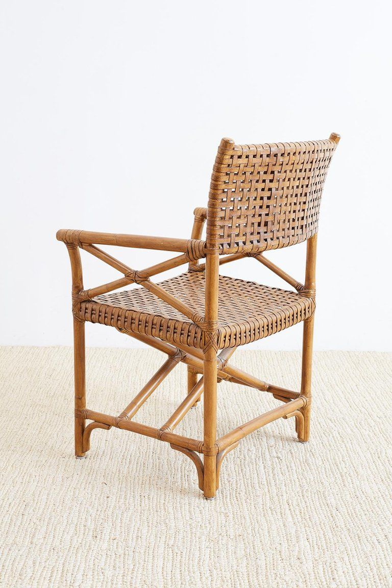 Mcguire Style Woven Leather Rattan Dining Chairs Dining Chairs