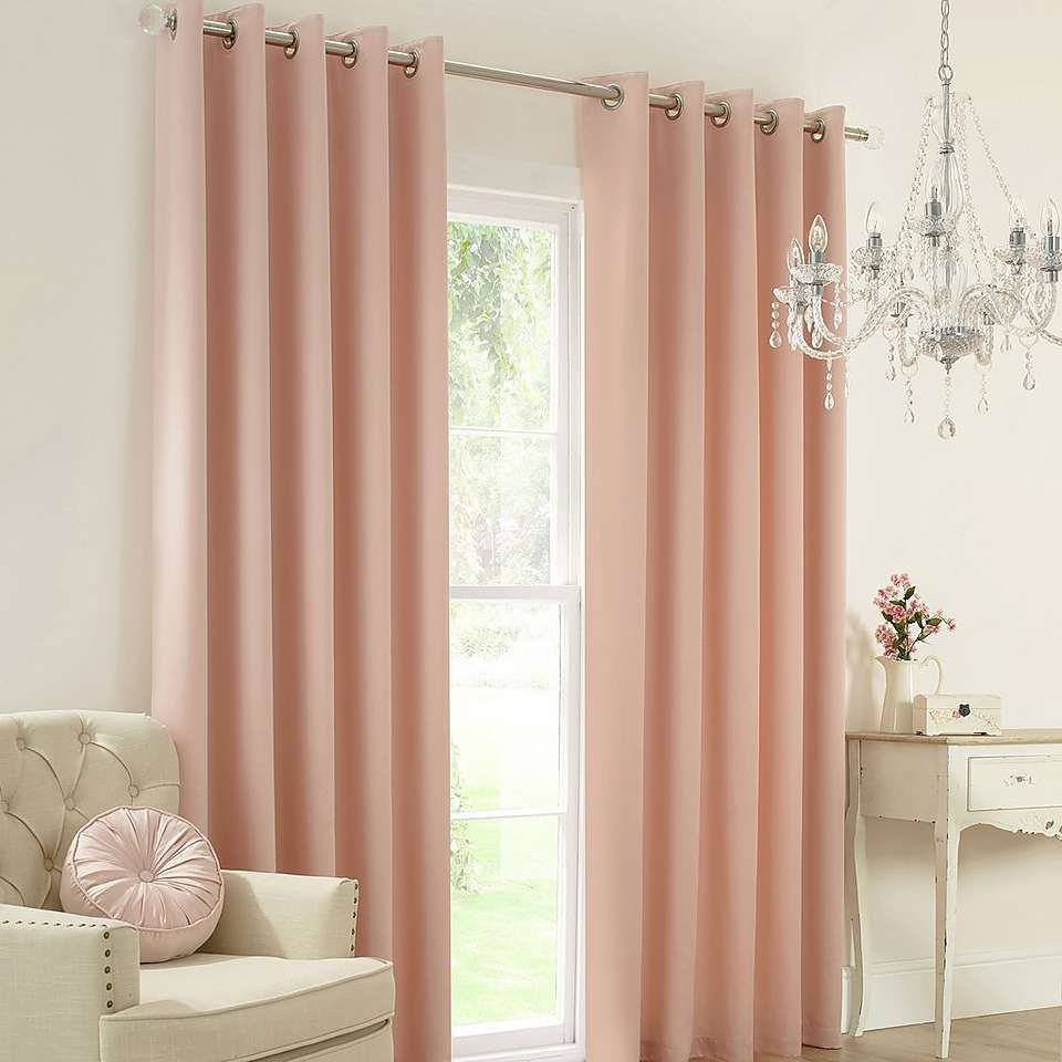 Blush Claire Thermal Eyelet Curtains Champagne Bedroom Pink