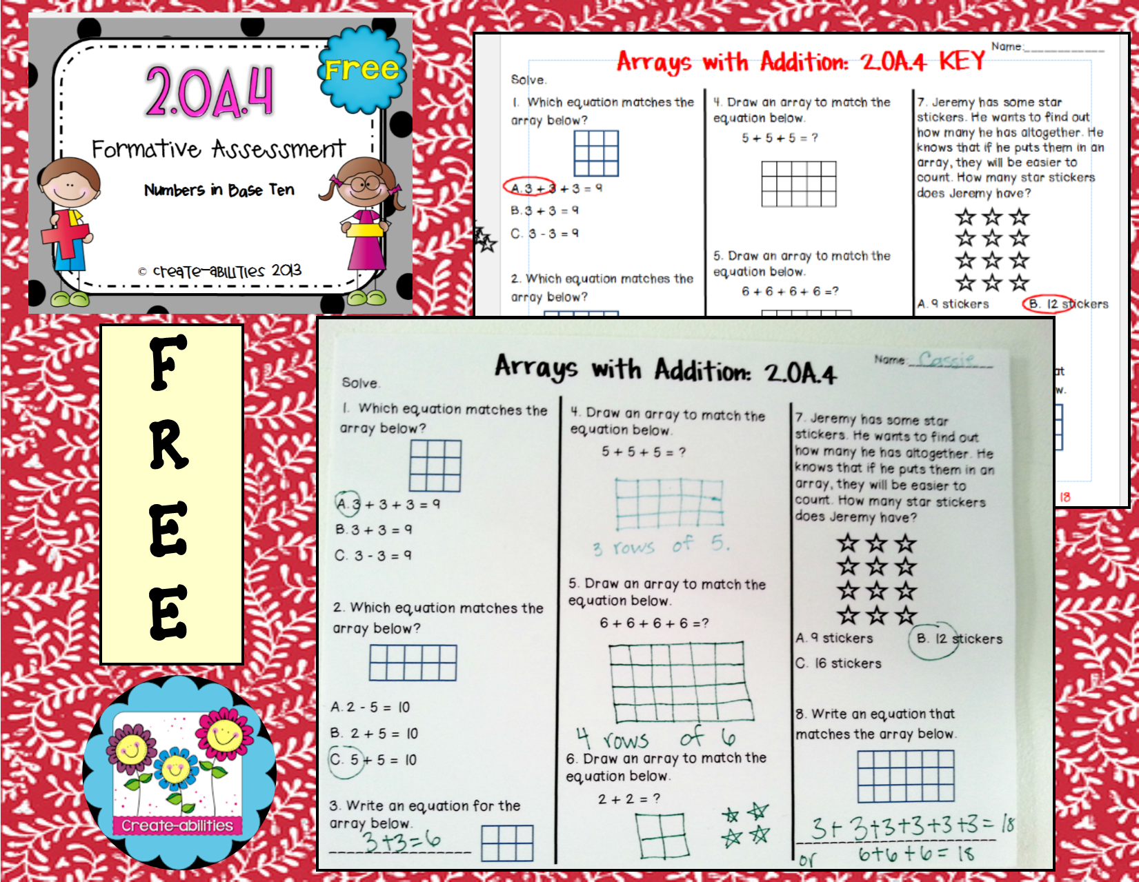 Free 2 Oa 4 Formative Assessment This Assessment Covers