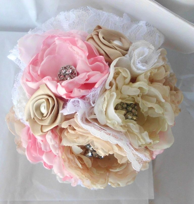 Fabric Flower Wedding Bouquet | Wedding | Pinterest | Fabric flowers ...