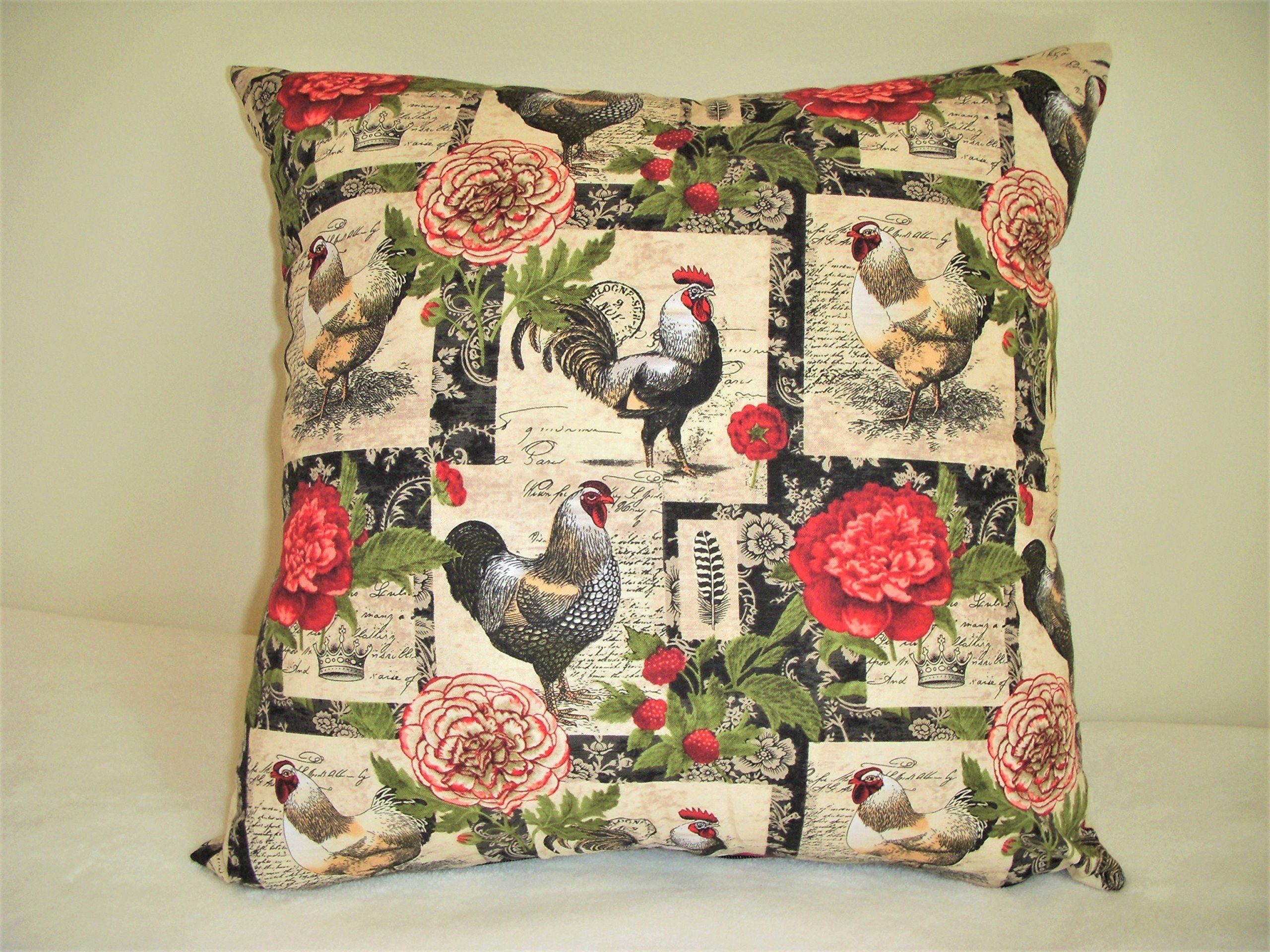 Rooster pillow cover french red roses black stamps script handmade