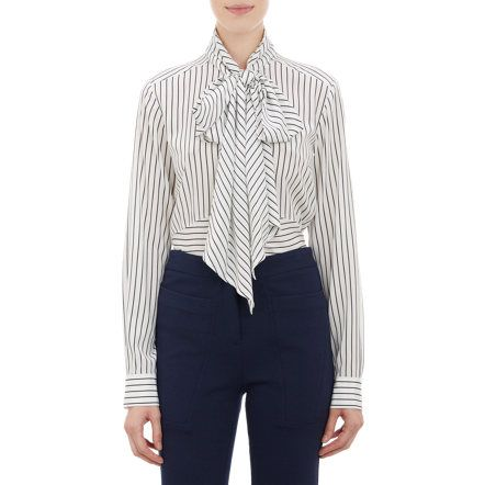 Derek Lam Stripe Neck-Tie Blouse at Barneys.com