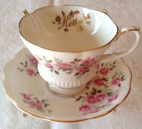 """Royal Albert TEA CUP & SAUCER Pink Sweetheart Roses """"Mother"""" in Gold Chintz 140 in Pottery & Glass, Pottery & China, China & Dinnerware   eBay"""