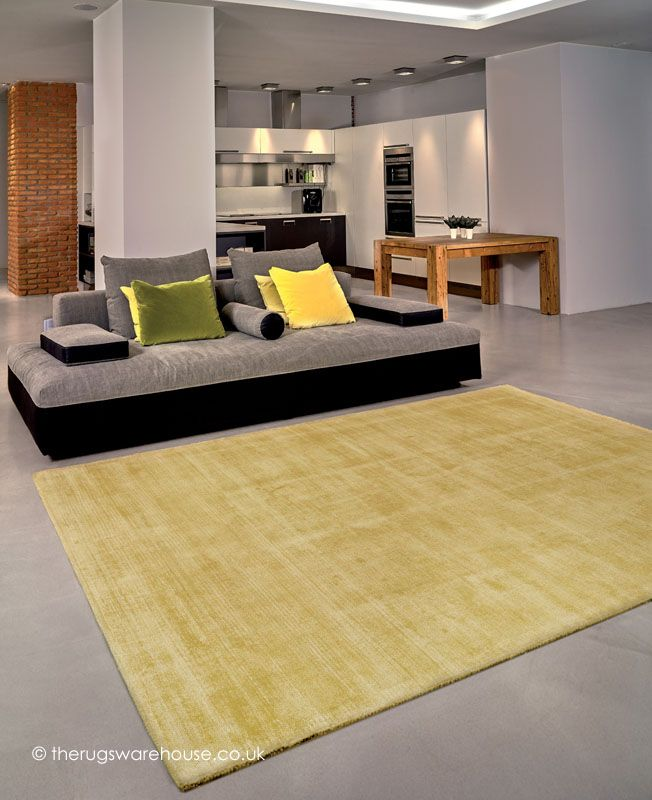 Trendy Shiny Yellow Rug A Luxury Hand Woven Modern Made From 100