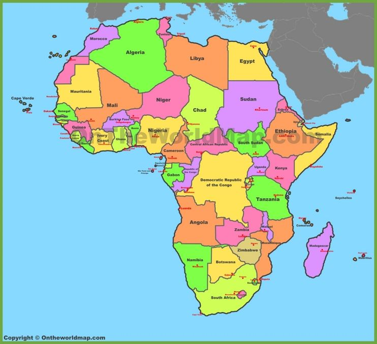 Map of Africa with countries and capitals Maps Pinterest